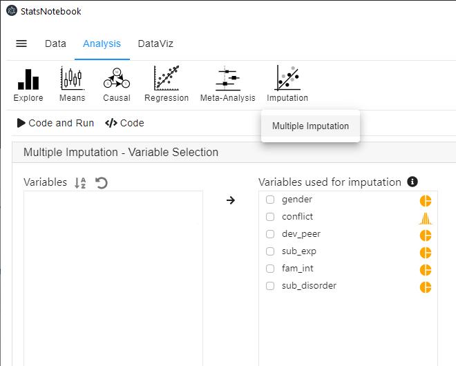 Multiple imputation in StatsNotebook