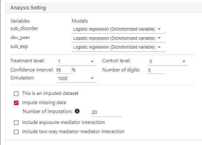 mediation analysis setting