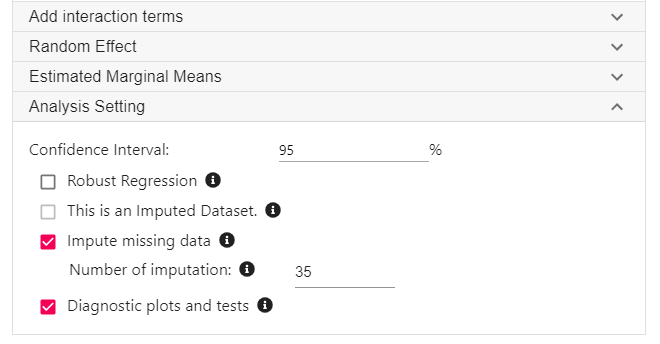 Multiple imputation and regression in StatsNotebook